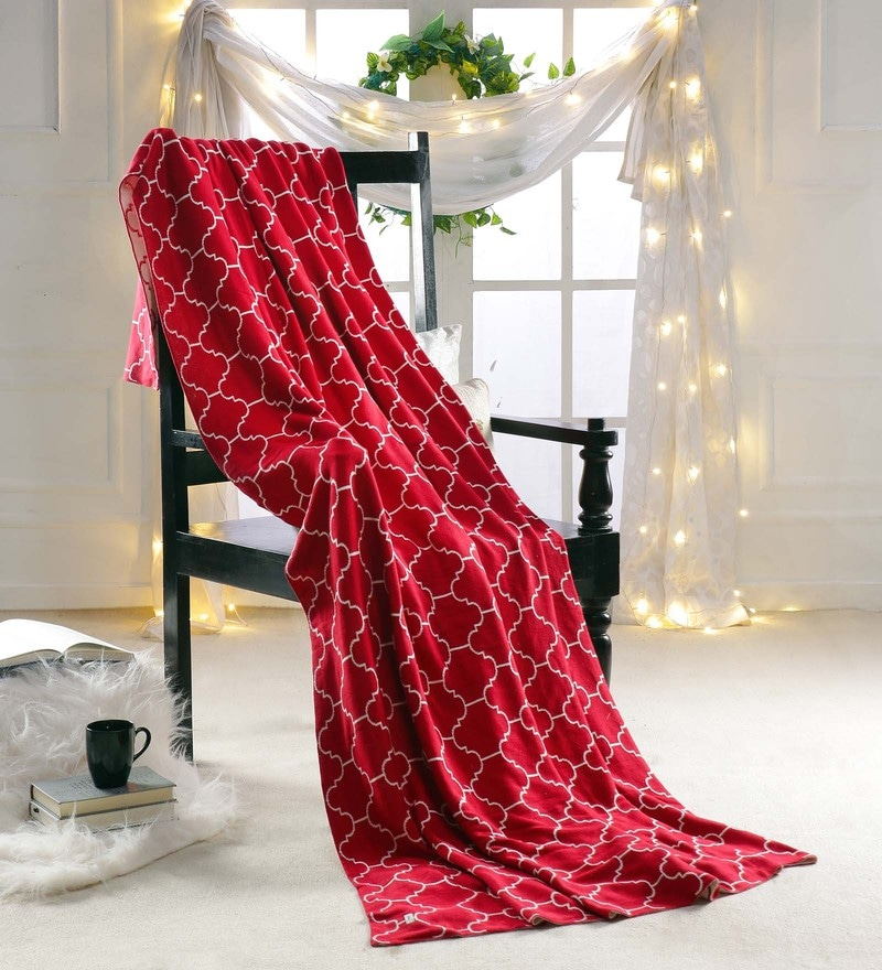 Red 100 % Cotton Single Size Blanket by Pluchi