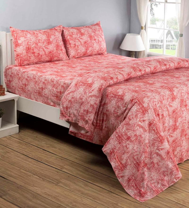 Red 100% Cotton Queen Size Bedsheet - Set of 3 by Maspar
