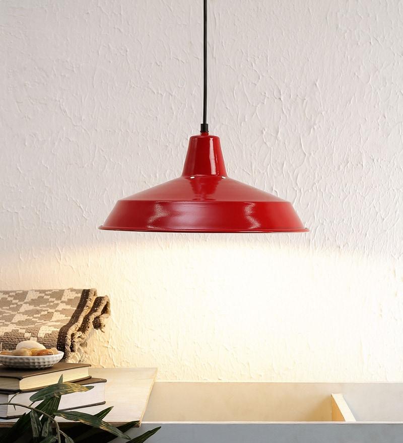 Red Aluminium Pendant Lamp by Ujjala