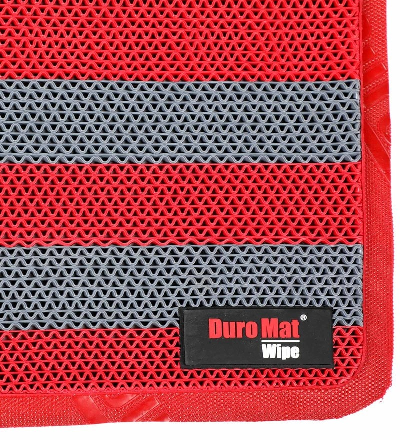 Red and Grey Rubber 21x30 Inch Anti Skid Bath Mat by Duro Comfort