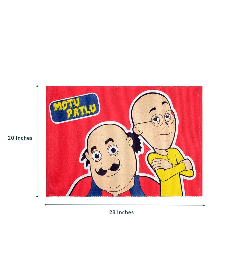 Red Cotton 28 X 20 Inch Motu Patlu Rug by Saral Home