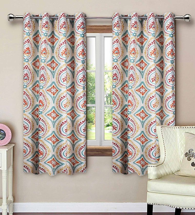 Red Cotton 62 x 53 Inch Floral Printed Window Curtain - Set of 2 by Vista Home Fashion