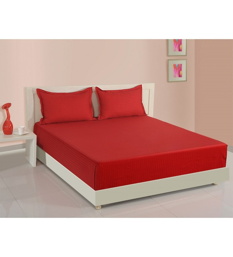 Red Cotton Fitted Bedsheet - Set of 3 by Swayam