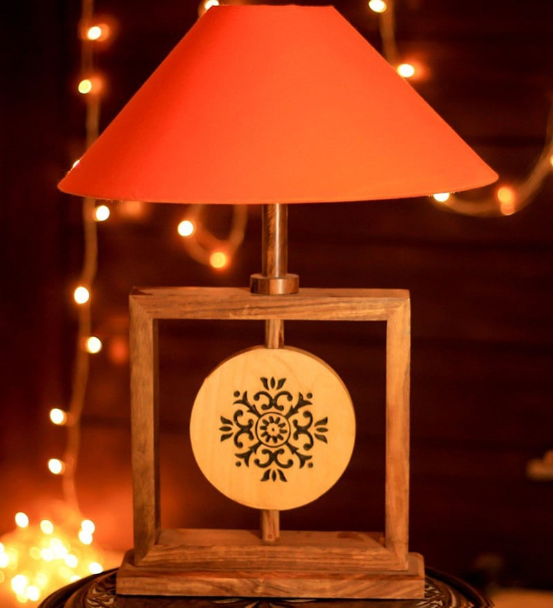 Red Fabric Table Lamp by Unravel India