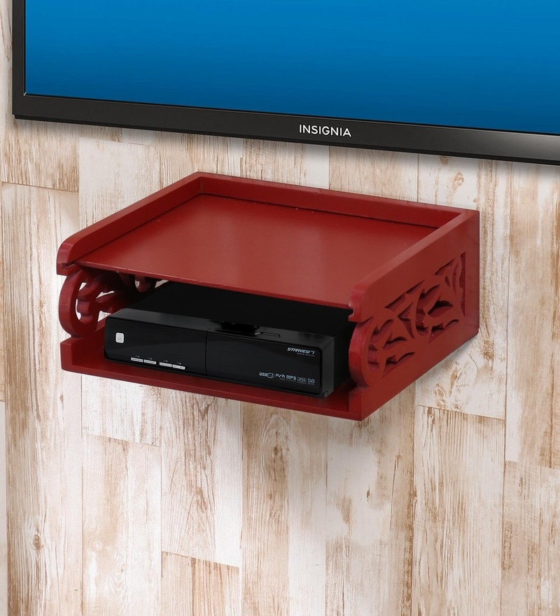 Red MDF Set of Box Wall Shelf by AYMH