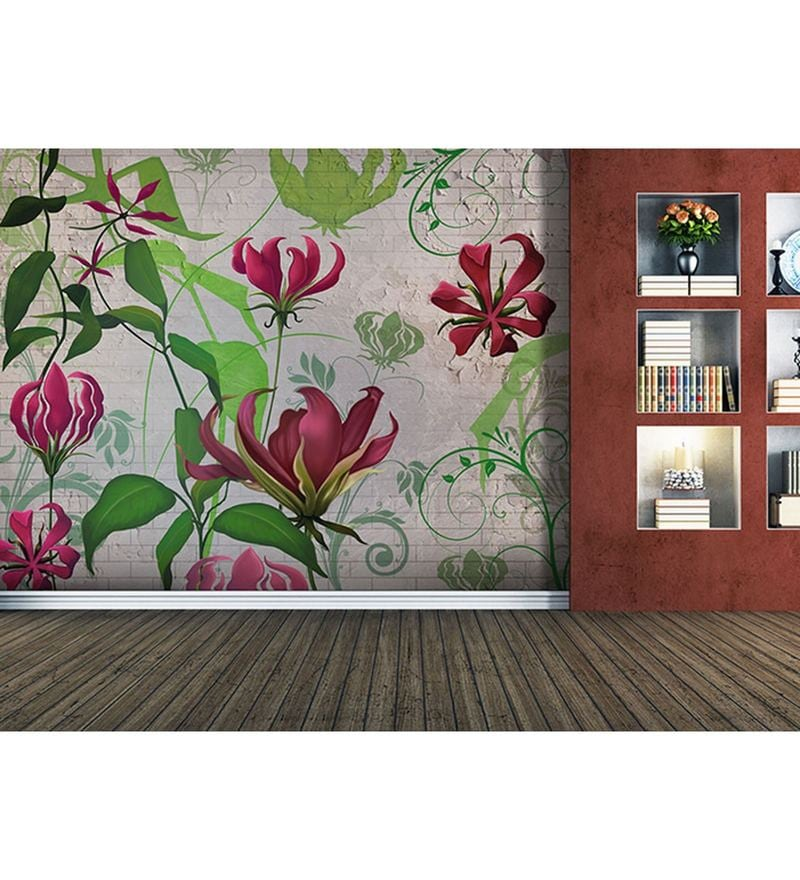 Red Non Woven Paper The Floral Strokes  Wallpaper by Wallskin