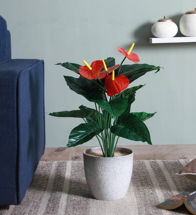Red Plastic with PVC Coating Miniature Artificial Plant by Fourwalls