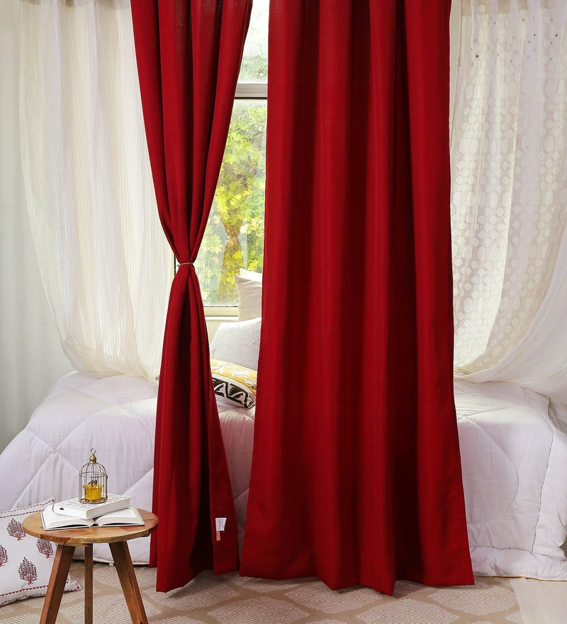Red Poly cotton 48 x 90 Inch by Solaj