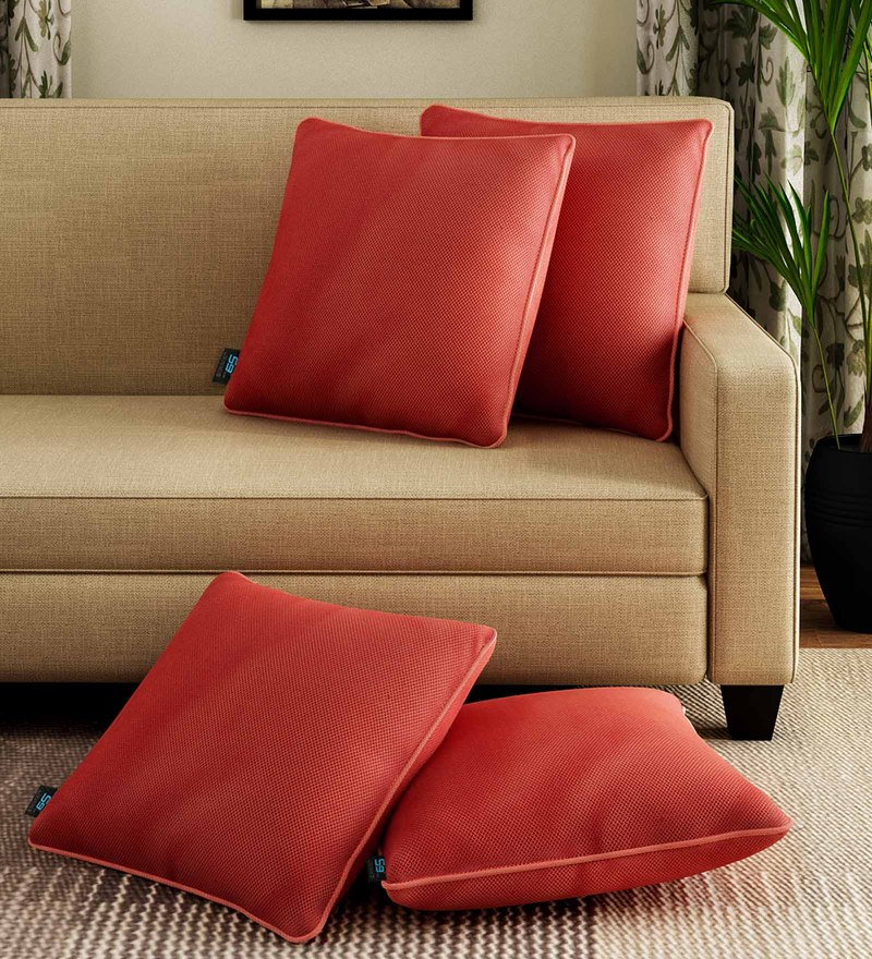 Red Polyester 16 x 16 Inch Cushion Covers - Set of 4 by S9 home by Seasons