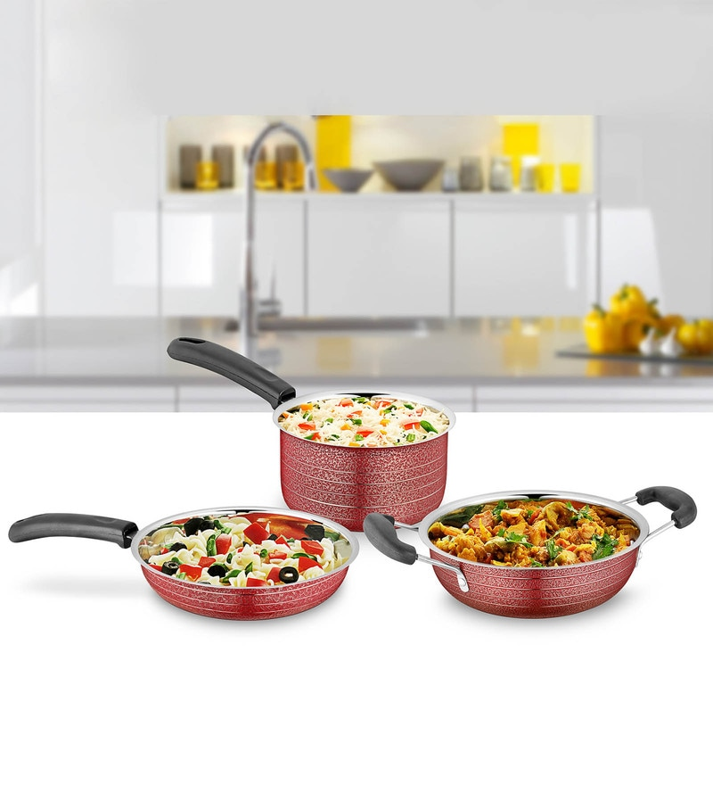 Red Stainless Steel Cookware Set - Set of 3 by Ideale