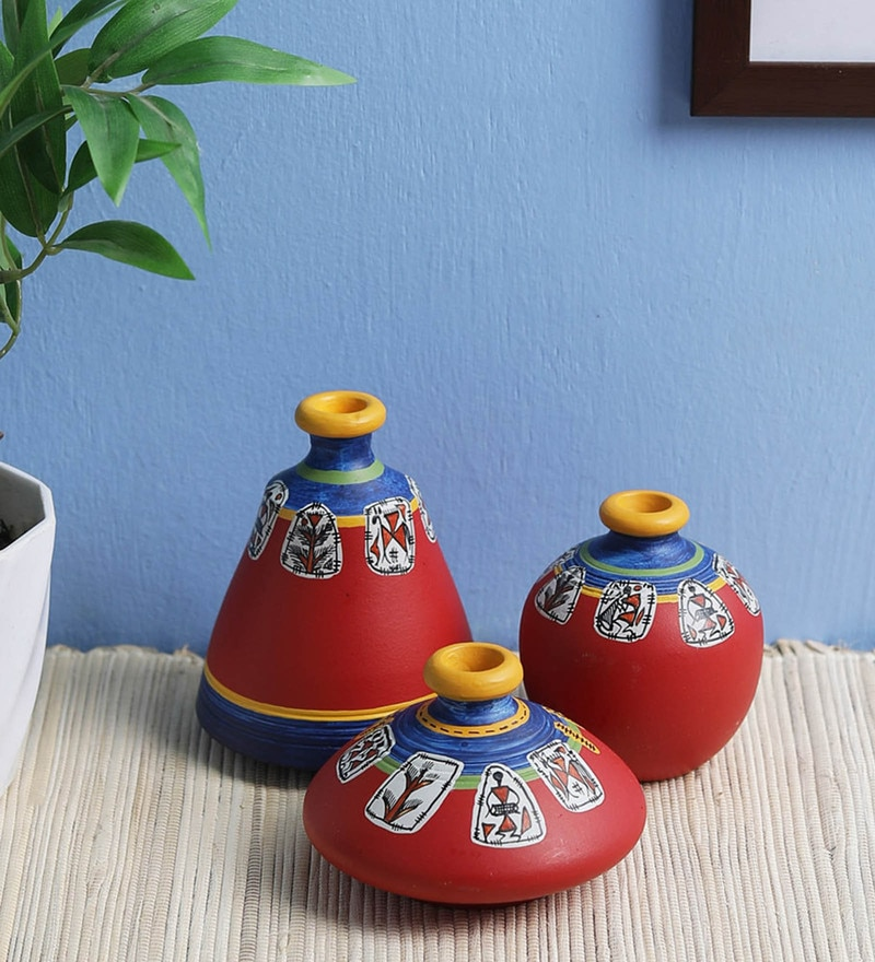 Red Terracotta Warli Vases by VarEesha - Set of 3