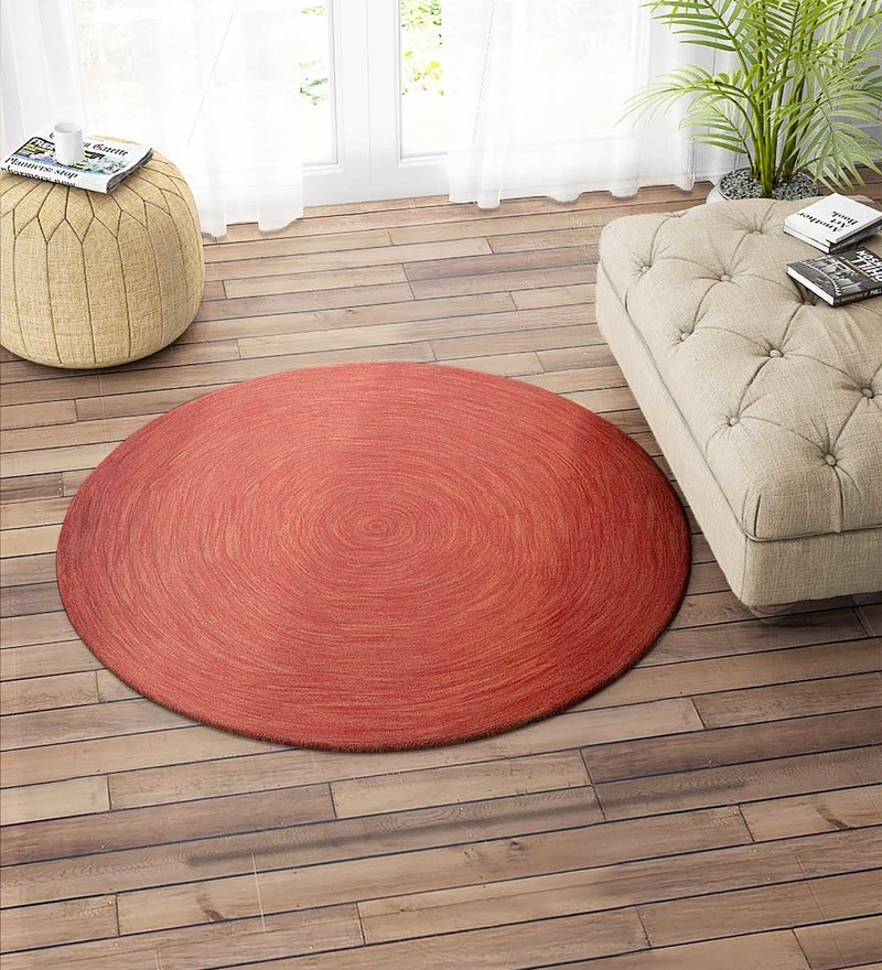 Red Wool 60 Inch Carpet by Imperial Knots