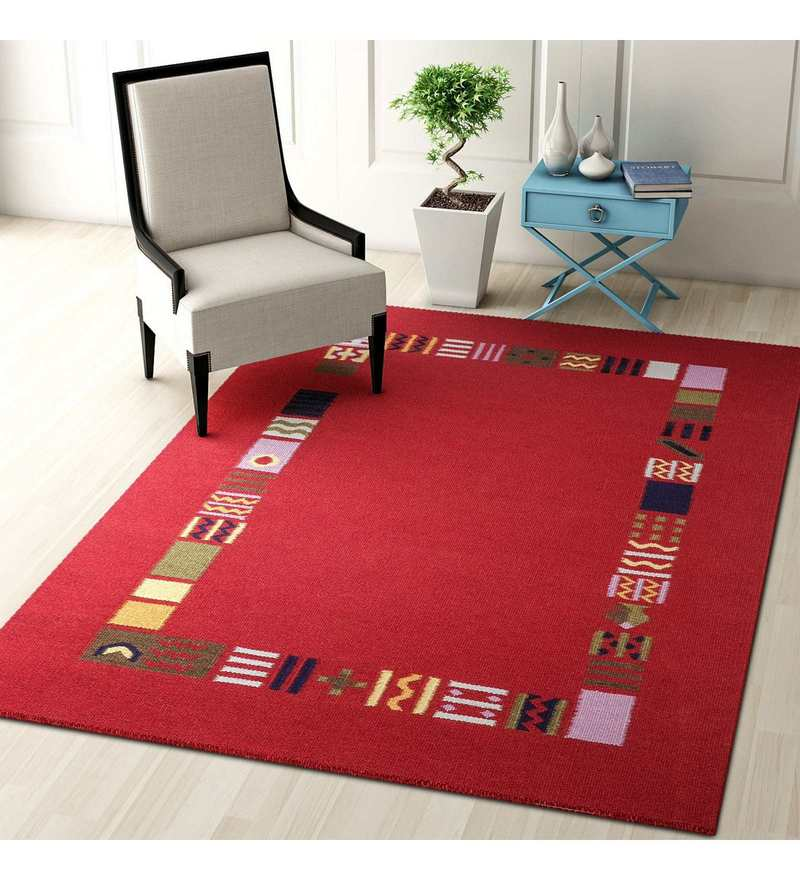 Red Wool 72 x 48 Inch Carpet by Imperial Knots
