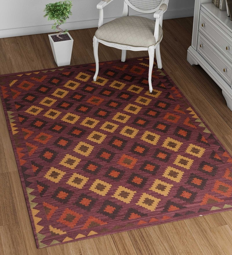Red Wool 90 x 60 Inch Carpet by Imperial Knots
