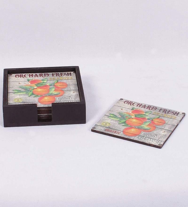 Reflete Kelita MDF Multi-Color Coaster - Set of 6