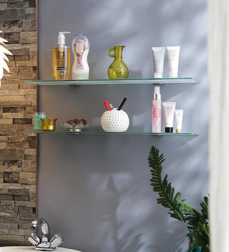 Regis Multipurpose Wall Glass shelf / Rack Corner (Set of 2) - Eco Clear 250mm