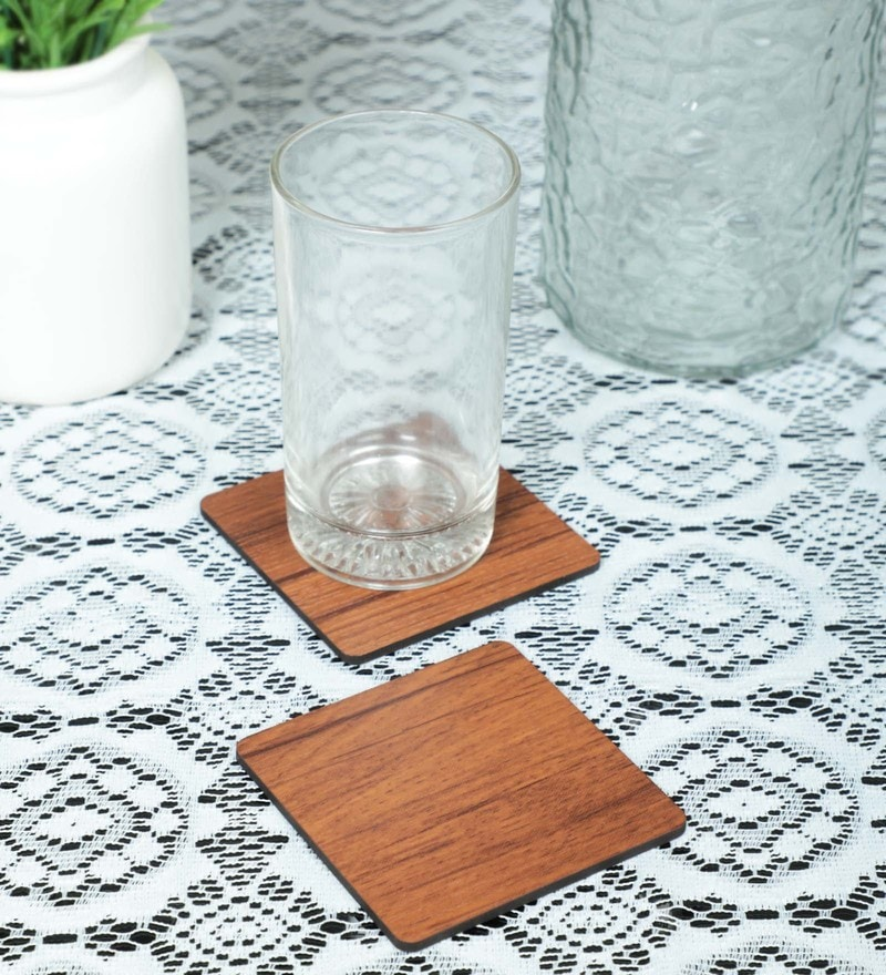 Reinvention Factory Wooden Coasters, Rosewood Finish, Set Of 4