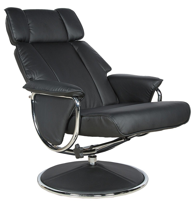 Relaxing Chair with Footstool in Black Colour by Parin