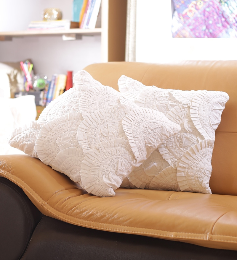 White Cotton 16 x 16 Inch Lace Cushion Cover - Set of 2 by Reme
