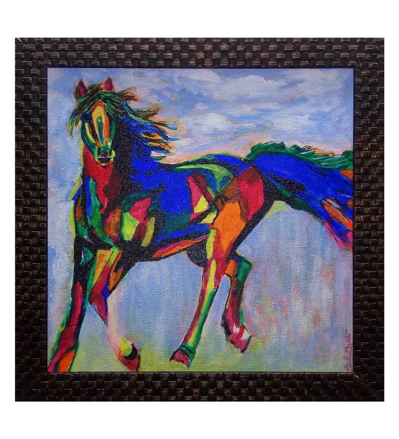 Canvas 13 x 13 Inch Running Horse Framed Painting by Retcomm Art