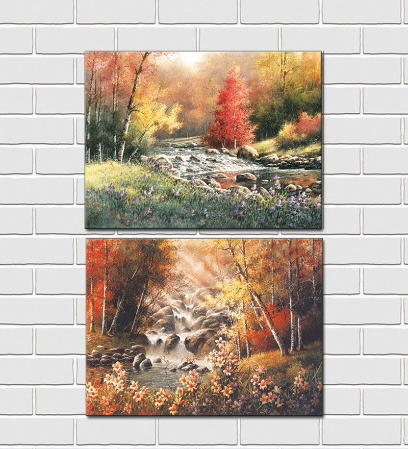 Retcomm Art Scenery Wooden 18 x 12 Inch Framed 2-piece Digital Art Print Set