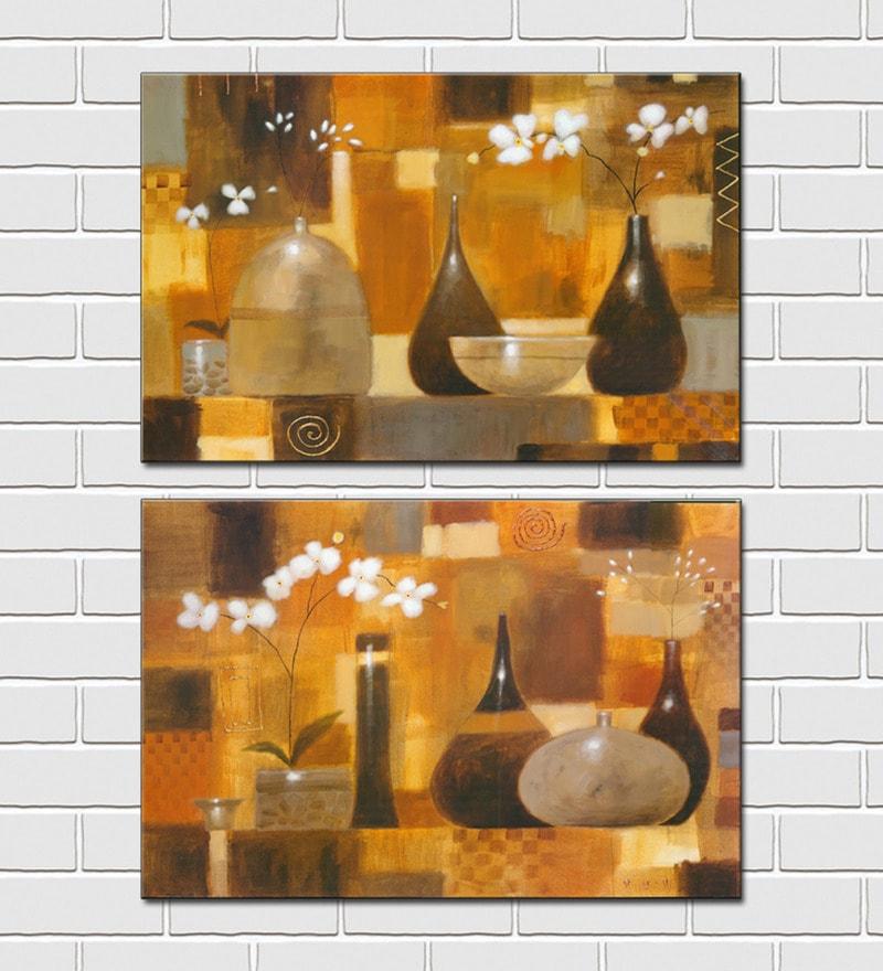Retcomm Framed Multiple Canvas Paintings Modern Art Still Life White Flowers