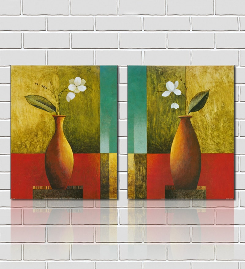 Flower Vase Brown Wooden 18 x 18 Inch Framed 2-piece Painting Set by Retcomm Art