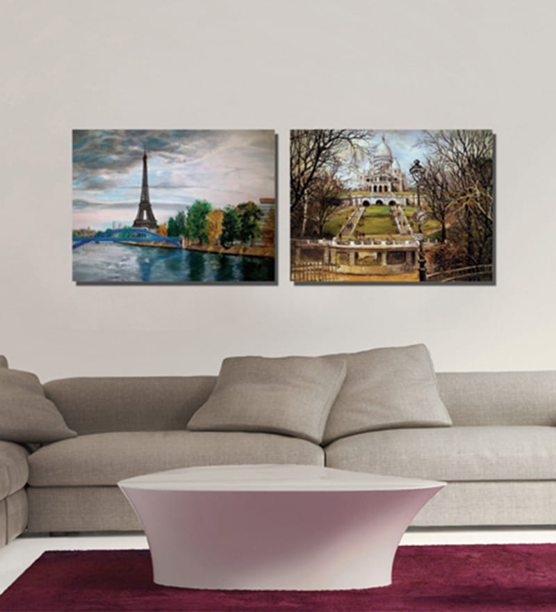 Retcomm Framed Multiple Canvas Paintings Thames bridge with wheel trolley puller