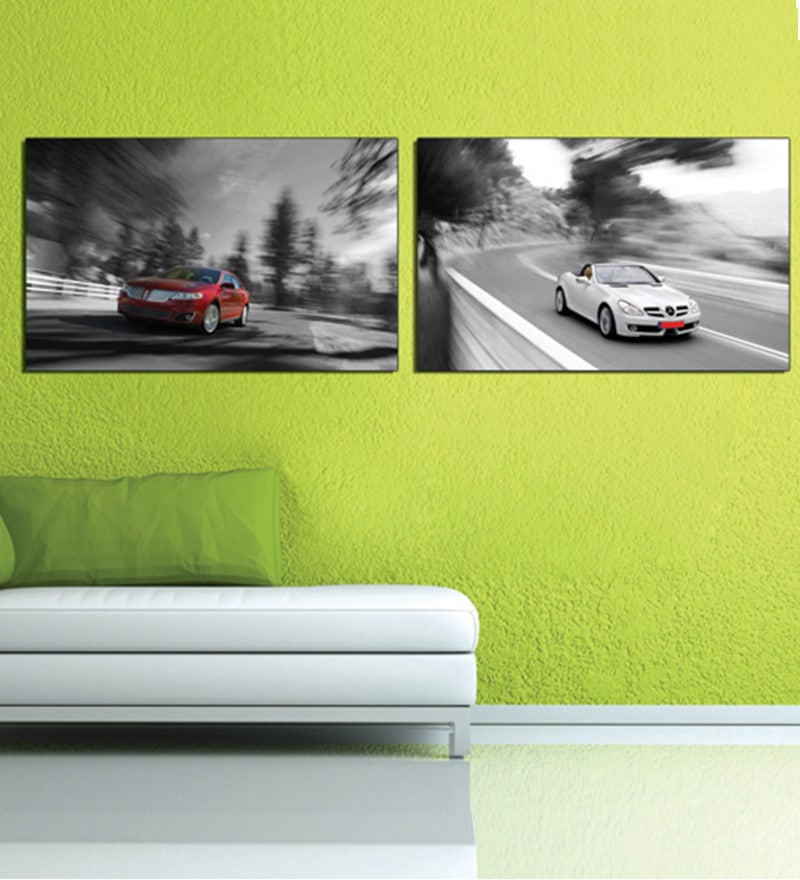 Retcomm Art Car Wood 24 x 18 Inch 2-piece Framed Art Print