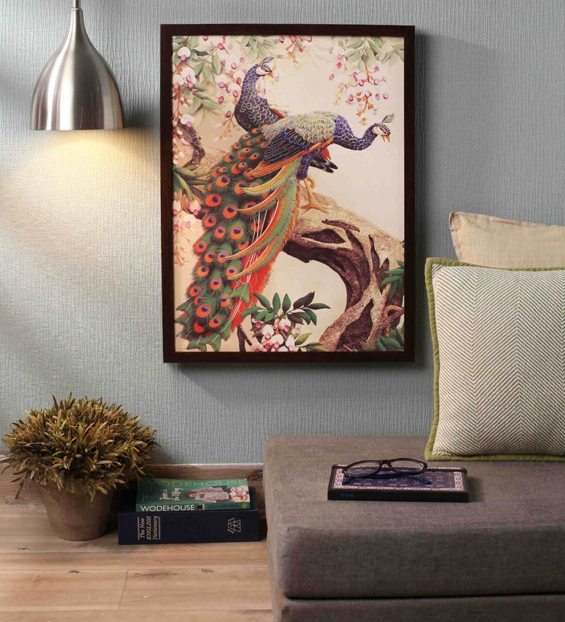 Wooden 18 x 1 x 24 Inch Beautiful Peacocks Framed Canvas Painting by Retcomm Art
