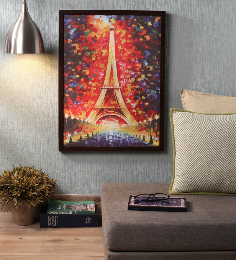 Wooden 18 x 1 x 24 Inch Eiffel Tower At Night Framed Canvas Painting by Retcomm Art