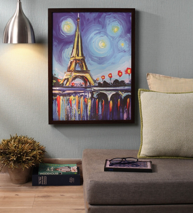 Wooden 18 x 1 x 24 Inch Shaded Eiffel Tower Framed Canvas Painting by Retcomm Art