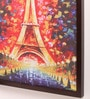 Retcomm Art Wooden 18 x 1 x 24 Inch Eiffel Tower At Night Framed Canvas Painting