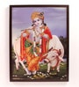 Retcomm Art Wooden 18 x 1 x 24 Inch Lord Krishna with Cow Framed Canvas Painting