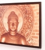 Retcomm Art Wooden 24 x 1 x 18 Inch Classic Buddha Meditating White Brick Framed Canvas Painting