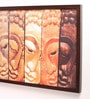 Retcomm Art Wooden 24 x 1 x 18 Inch Many Faces of Buddha Framed Canvas Painting