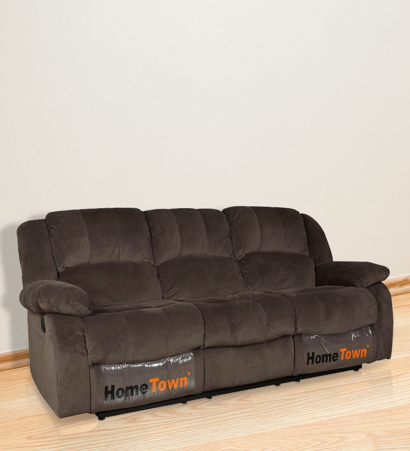 Rhea Three Seater Manual Recliner in Brown Colour by HomeTown