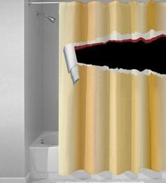 White Black Polyester Shower Curtain