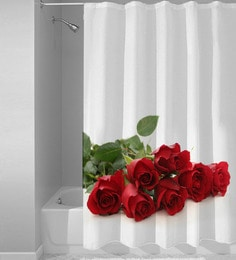 White Red Polyester Shower Curtain