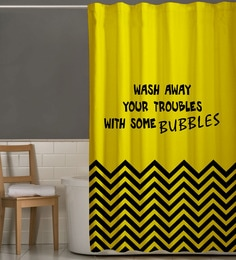Yellow Black Polyester Shower Curtain