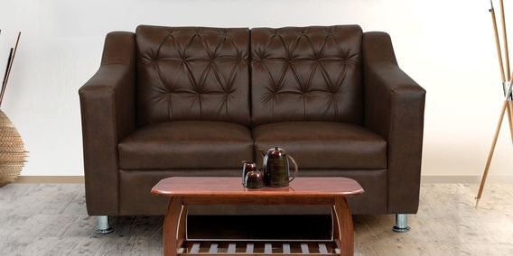Riosche Two Seater Sofa In Brown Leatherette