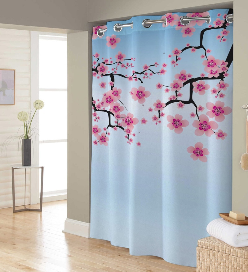 Blue & Pink Polyester Shower Curtain by Right