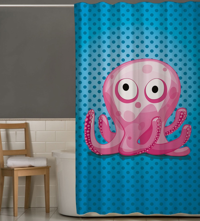 Blue Pink Polyester Octopus Print Shower Curtain By Right