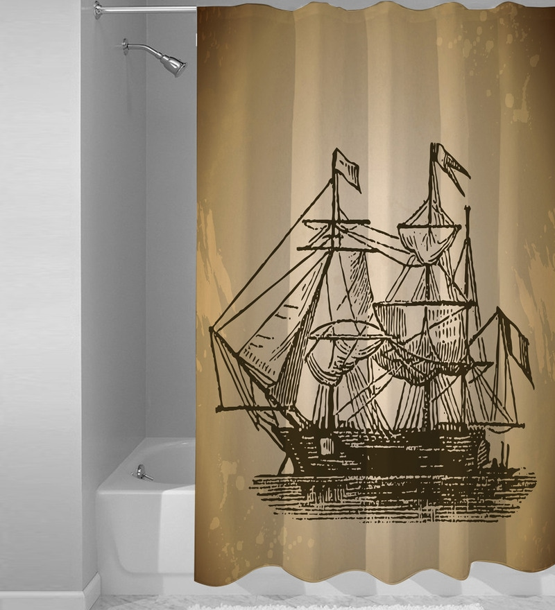 Brown Polyester Boat Print Shower Curtain by Right