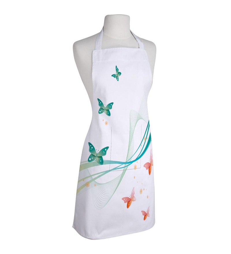 Right Butterfly White Polyester Free Size Apron