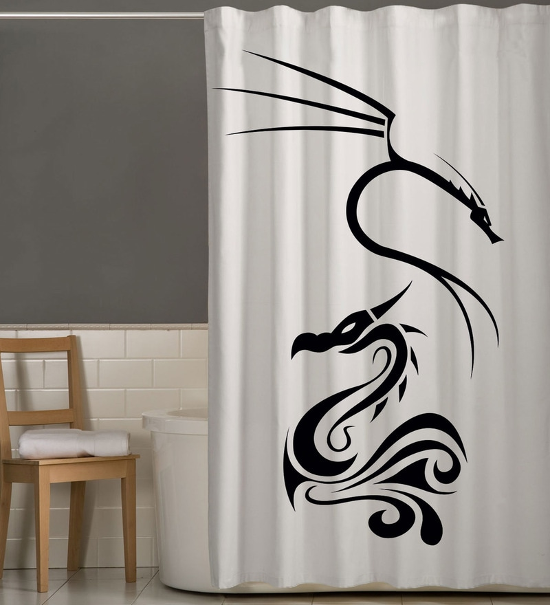 White & Black Polyester Dragon Print Shower Curtain by Right