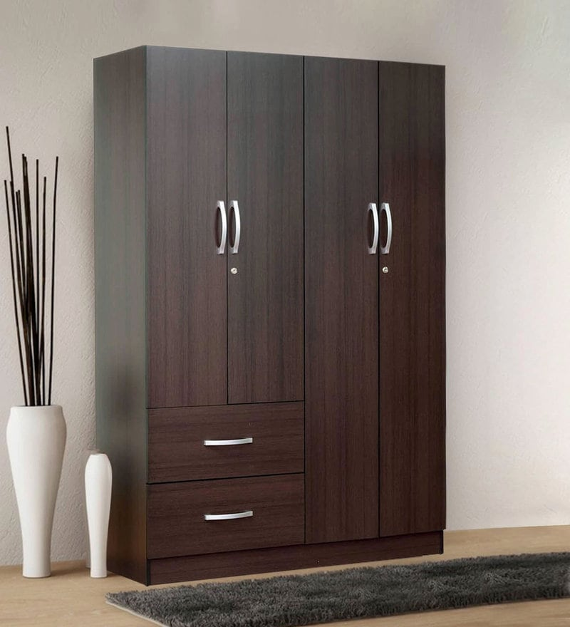 Rikotu Four Door Wardrobe with Two Drawers in Wenge Finish by Mintwud
