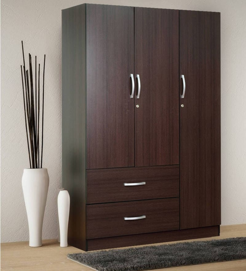 Rikotu Three Door Wardrobe with Two Drawers in Wenge Finish by Mintwud