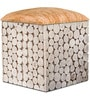 Riley Box Pouffe in Oak Colour Seat by InLiving