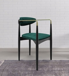 Rodin Arm Chair In Green & Black Colour By Bent Chair